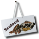 Seafood for sale sign